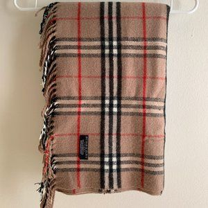 Burberry Brown Khaki Tan laid Tartan Scarf Wrap
